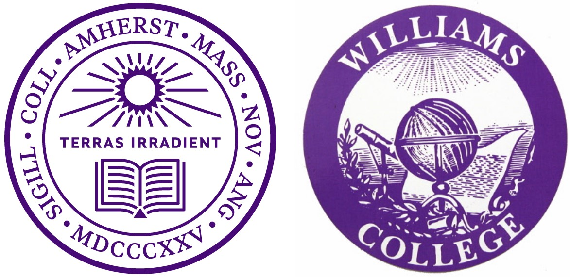 White background with two purple emblems of two colleges